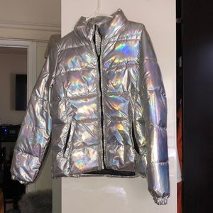 Holographic puffer coat